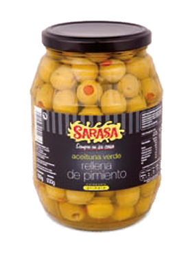 Red Pepper Stuffed Green Olives Manzanilla 977Ml