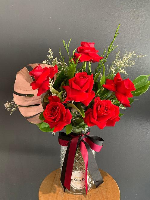 1/2 Dozen Red Rose Vase Arrangement