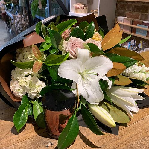 Mixed Seasonal Blooms & Candle