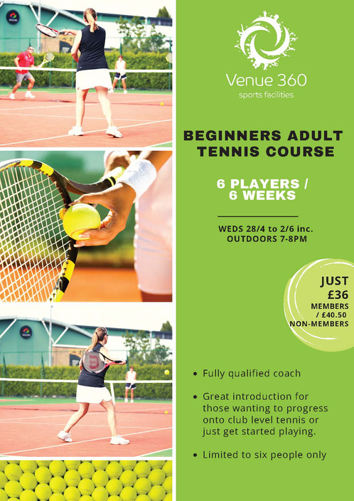 Beginners Adult Tennis Course - 6 PLAYERS /6 WEEKS