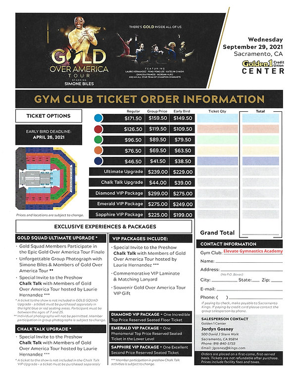 Gold Over America Tour Ticket Informatio