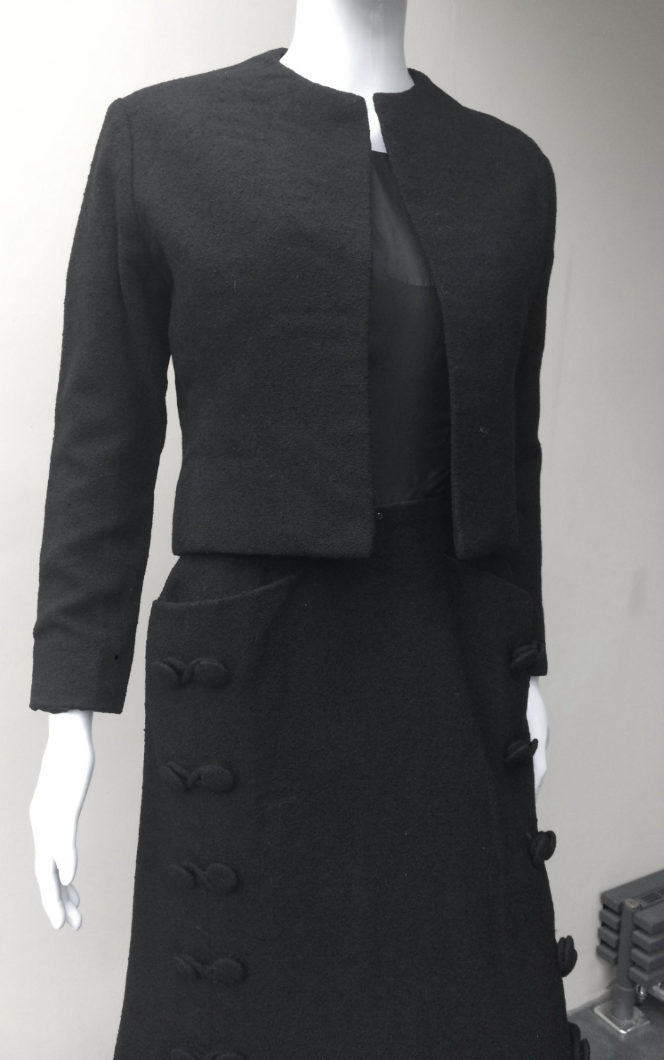Dior Paris black skirt suit CU_edited