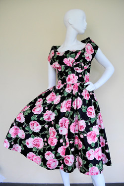 50's cotton rose print summer dress