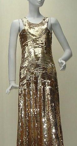 1930s gold sequin gown