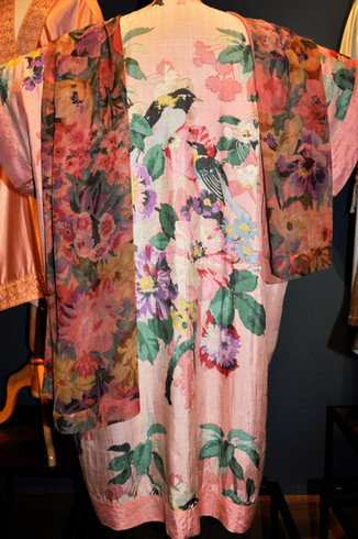 Liberty & Co,  Printed silk dressing gown with chiffon scarf.