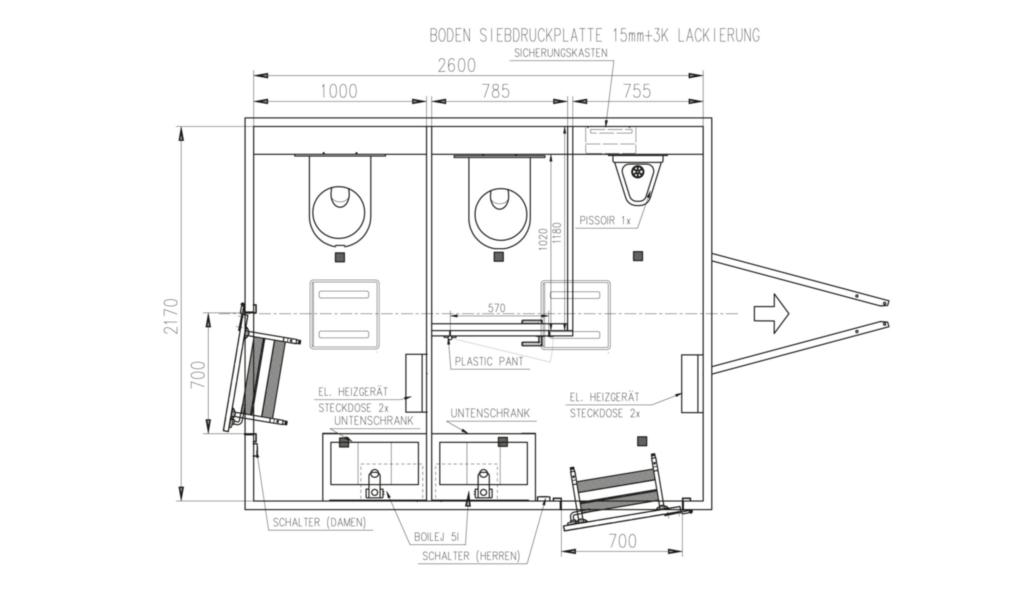mietlift.ch Vezeko WC-Wagen 1 Damen, 1 Herrenkabine.Anhänger-Center Räterschen