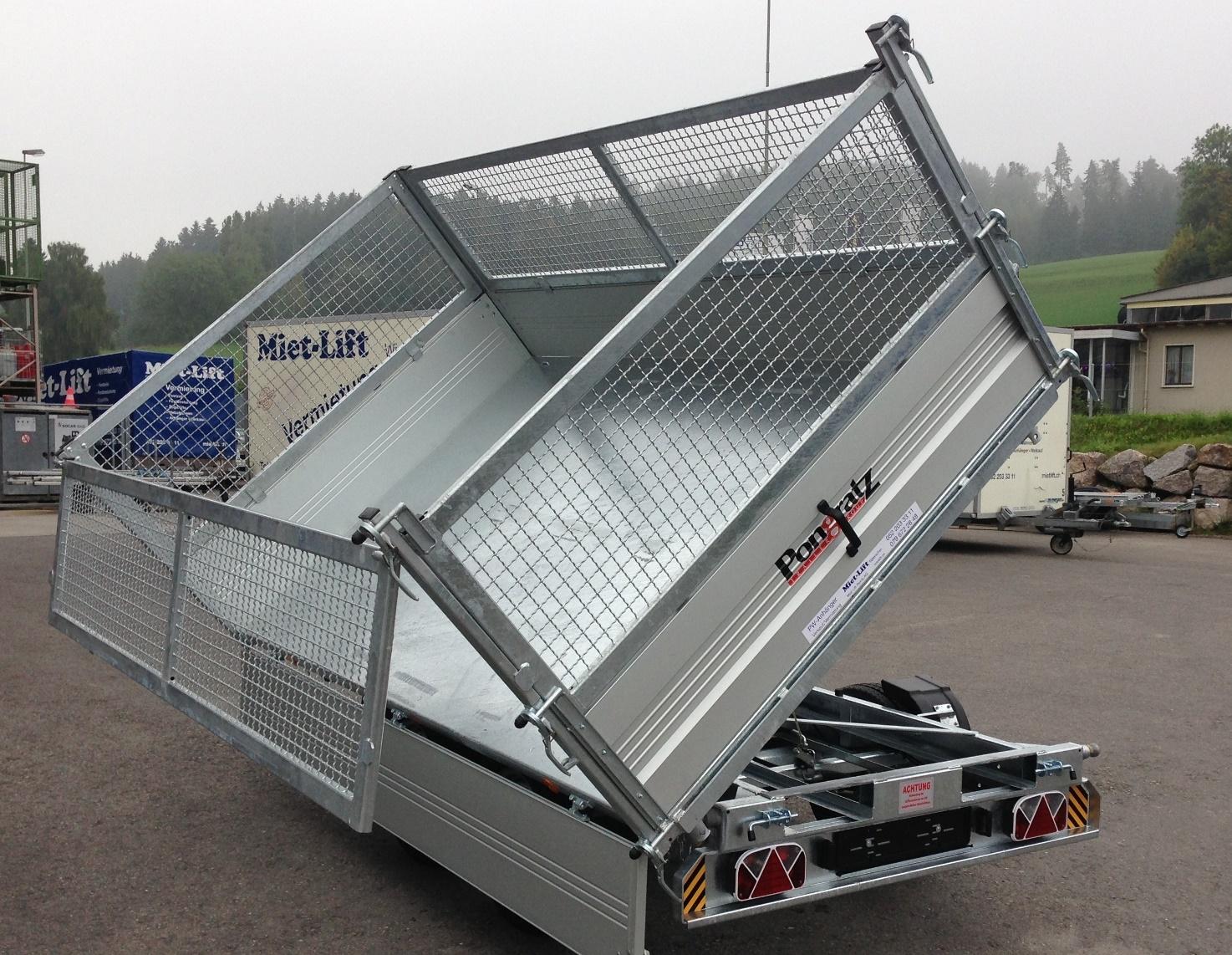 mietlift.ch Pongratz 3-SKS 3100/17 T 3-Seitenkipper .Anhänger-Center Räterschen
