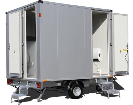 mietlift.ch Vezeko WC-Wagen 2 Türen mit Einhängetreppe.Anhänger-Center Räterschen