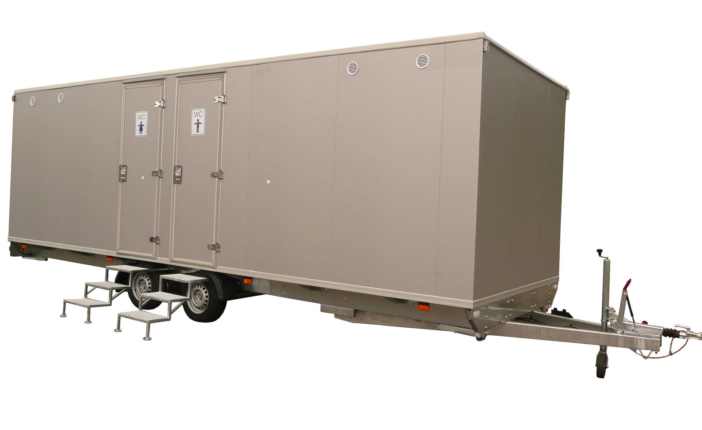 mietlift.ch Vezeko WC-Wagen mit mehreren Kabeinen.Anhänger-Center Räterschen