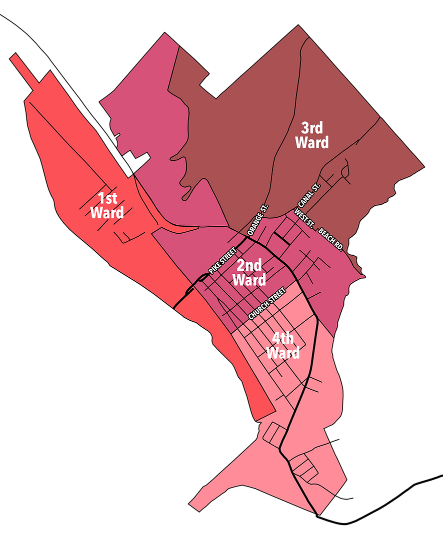 Image showing divsion of Wards in Port Jervis, NY