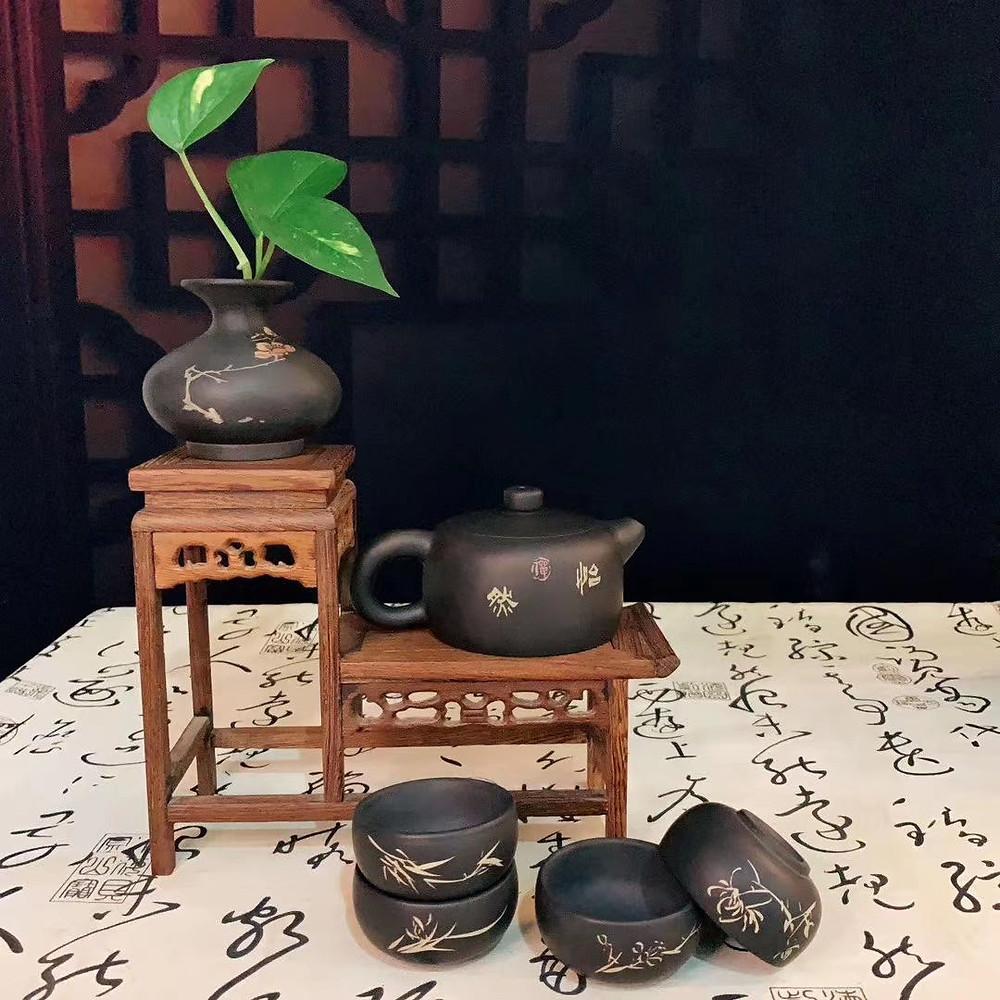 Purple Pottery Tea Set