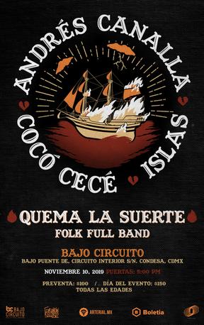"""Line Up: -Andrés Canalla -Cocó Cecé -Islas  Presentado por Fractal, Gruñón Records, Arterial.MX & BajoCircuito  Los artistas más tristes de la Ciudad de México se juntaron para ofrecer el primer show de su gira Quema la Suerte y fui comisionado para crear el poster. Siempre busco estilos y técnicas diferentes y siempre llego a resultados interesantes. ________________________  The saddest artists of Mexico City got together and organized their first show of their tour """"Quema la Suerte""""and I was commissioned to create the poster. I'm always looking for new techniques and styles and I always a"""