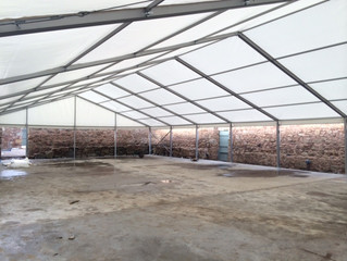 Our marquee roof is up!