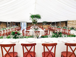 Round and long in marquee with tableclot