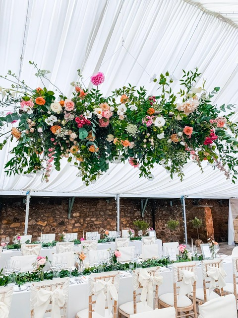 Marquee roof flowers