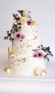 עוגת חתונה זהב ופרחים