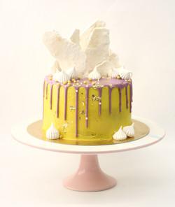 עוגת דריפ צהוב-סגול ומרנג