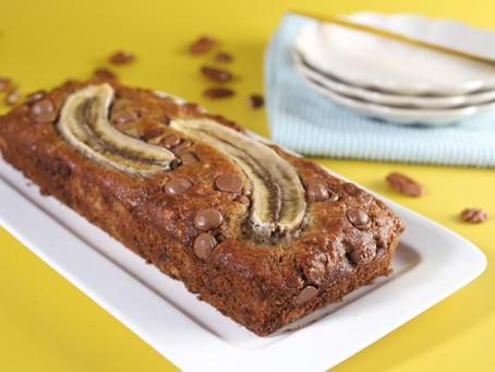 עוגת בננות, שוקולד חלב ופקאן