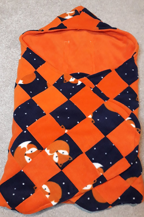 Navy fox and orange patchwork