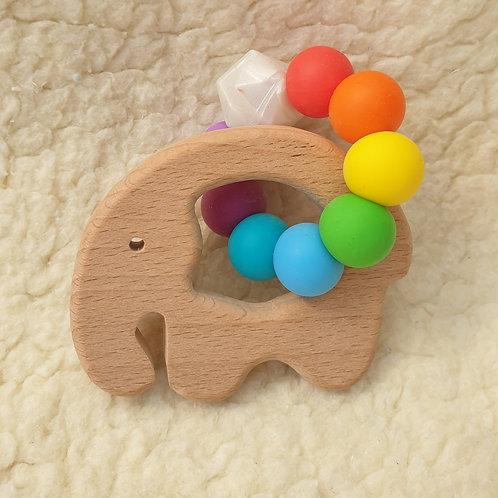 rainbow elephant handheld teether