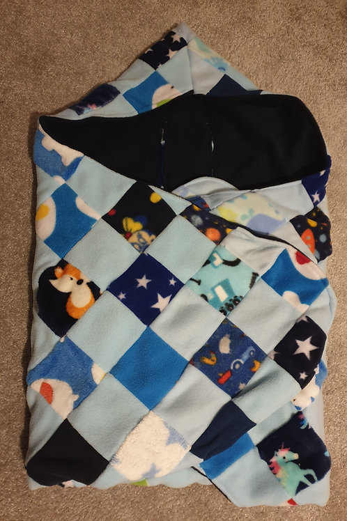 All the blues patchwork with navy inner cosy car seat blanket