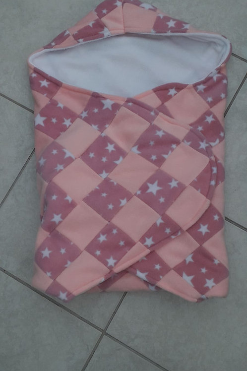pink star pink patchwork with white inner cosy car seat blanket