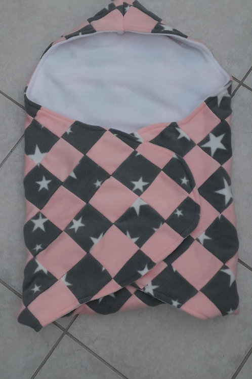 Grey star and baby pink patchwork with white inner cosy car seat blanket