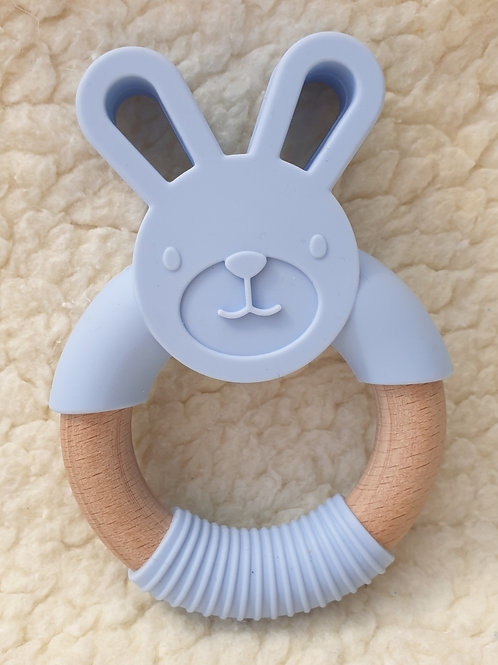 blue bunny handheld teether