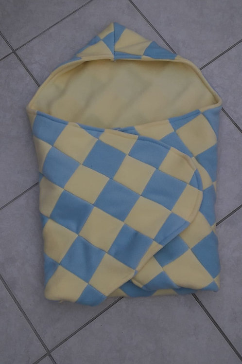 Lemon and baby blue patchwork with white inner cosy car seat blanket