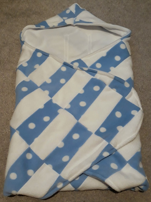 blue polka and white patchwork