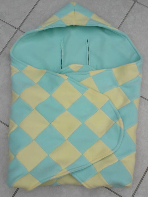 Mint and lemon patchwork mint inner cosy car seat blanket