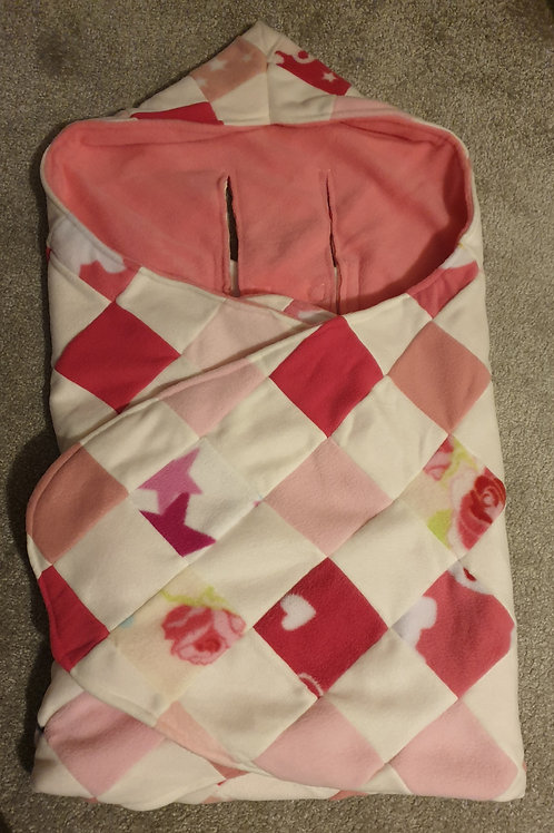 A the pinks patchwork with pink inner cosy car seat blanket