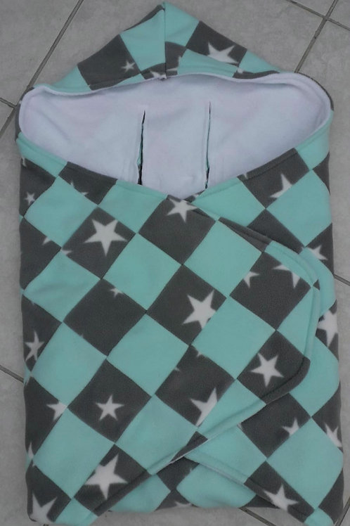 Mint and grey star patchwork white inner cosy car seat blanket