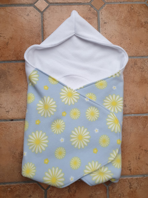 Pale grey with yellow white flowers white hood
