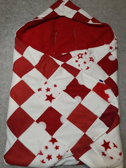 Red and white patchwork.