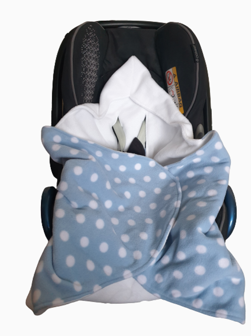 Pale blue polka dot with white hood