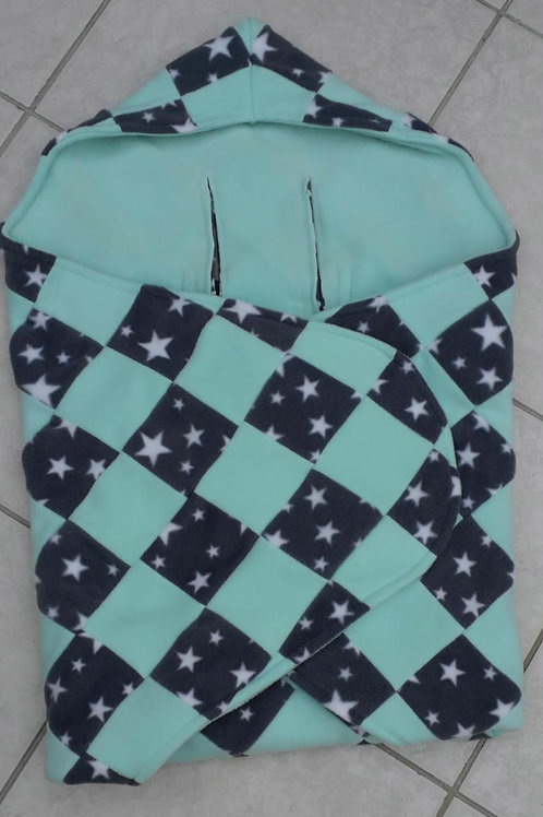 Mint and grey star patchwork mint inner cosy car seat blanket