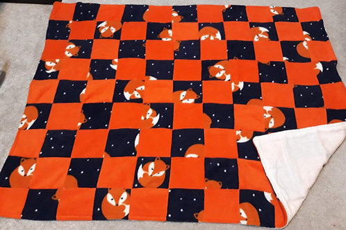 navy fox and orange patchwork Pram blanket