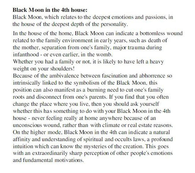 Black Moon Lilith, in Houses