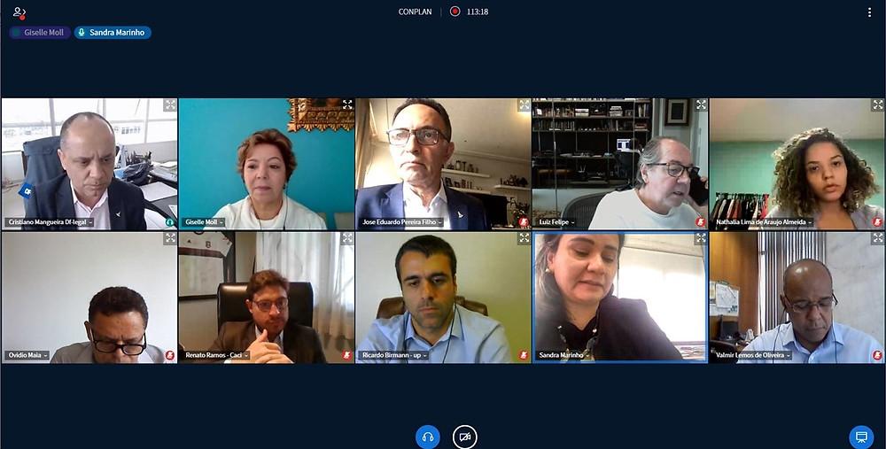 Reunião virtual entre conselheiros do Conplan e representantes da Urbanizadora Paranoazinho