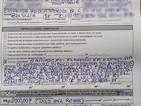 GDF multa ministro da educação Abraham Weintraub por não usar máscara