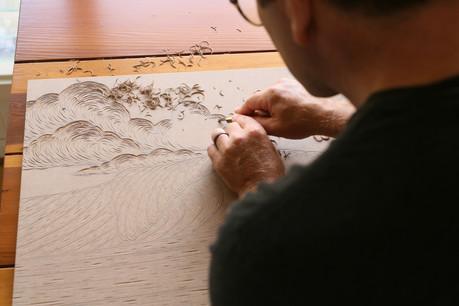 Woodblock carving