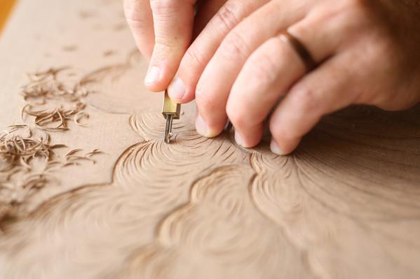 Woodcut up close