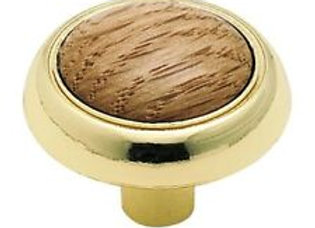 KNOB POLISHED BRASS W/OAK CENTER
