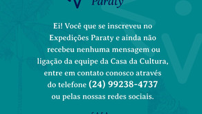 Comunicado: Expedições Paraty