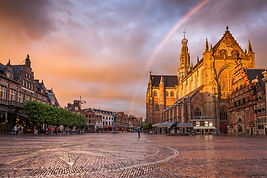 Breathtaking sunset over Grote Market in
