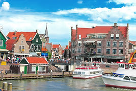 Tourist boat in the port of Volendam. Ne