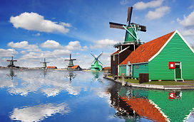 Traditional Dutch windmills with canal c