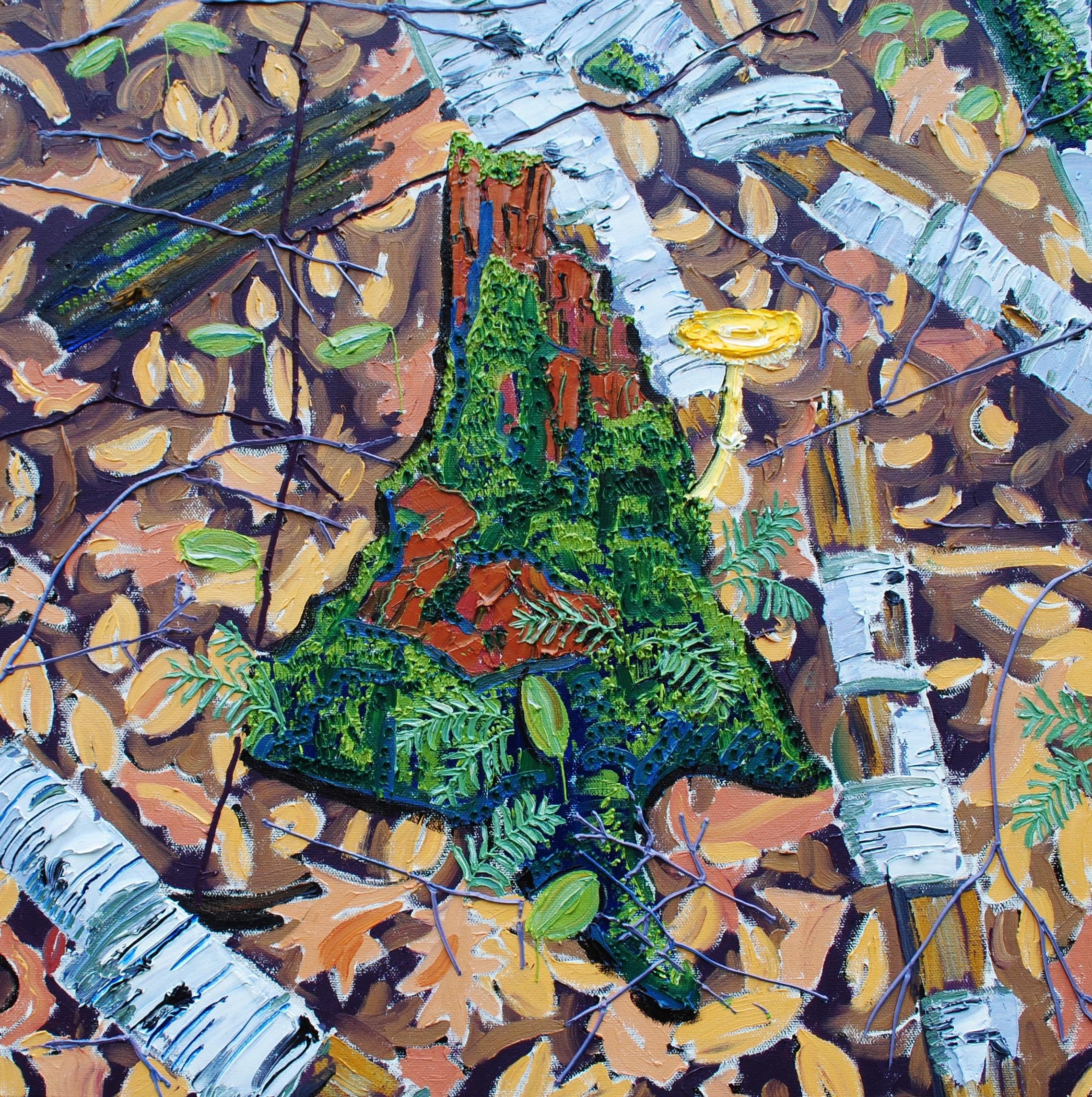 Mossy Stump with Yellow Wax Cap Mushroom