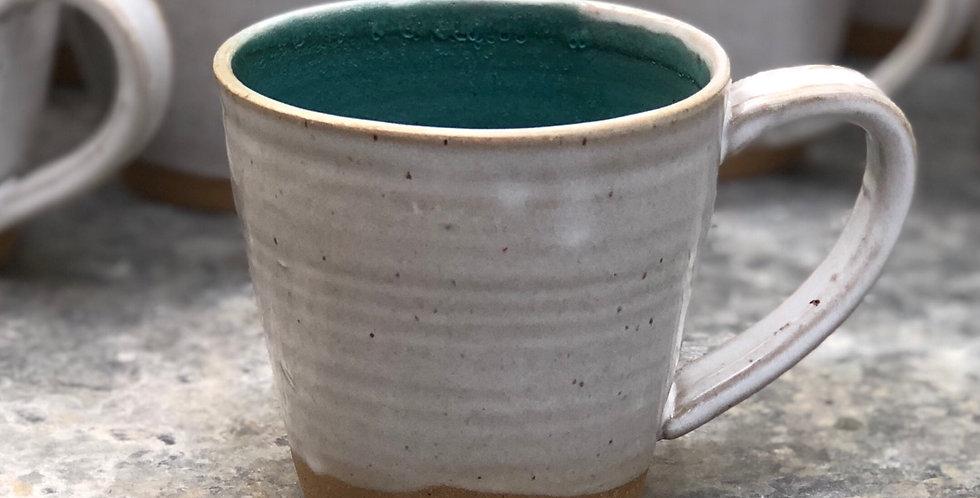 Pottery Mug, White & Matte Teal